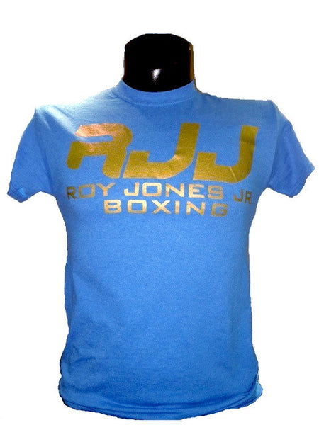RJJ Aqua Blue T-Shirt with Gold Logo