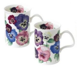 Kirkham ER21119 Pansies Lancaster Mugs - Set of 6