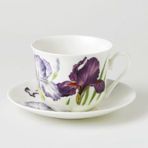Kirkham ER2813 Iris Chatsworth Breakfast Cup & Saucer - Set of 2