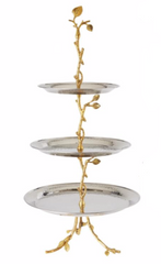 Elegance 70033 Gilt Leaf & Hammered Stainless Steel 3-Tier Tray