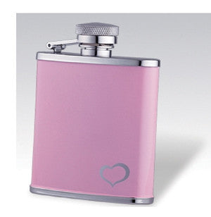 Flask P85-518 SS Pink Coated Flask w/ Heart 3oz.