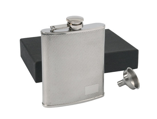 Flask P85-5205 Stainless Steel 6 oz. Mesh Flask & Funnel Set