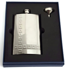 Flask P85-5575 Square Design 8 oz. Flask & Funnel Set