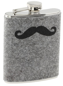 Flask P85-510 SS Felt Wrapped Mustache Flask 6oz