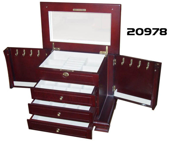 Elegance 20978 Wood Jewellery Box w/ 3 Drawers