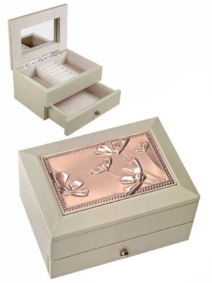 Elegance 61333 Beige Jewellery Box w. Drawer, Copper Fin. Floral Lid