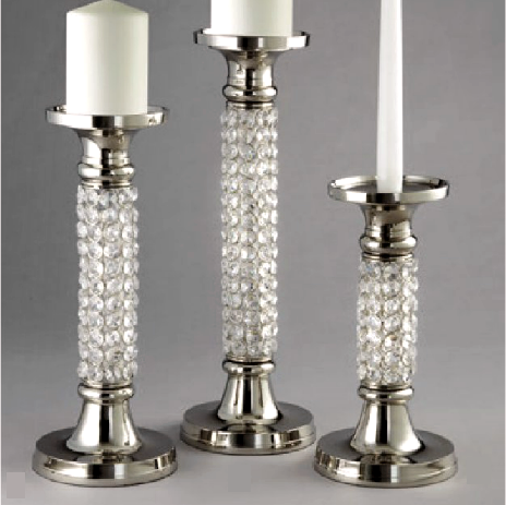 Elegance 72907/8/9 Sparkle Pillar/Taper Column Candle Holder - 3 Sizes Avaliable