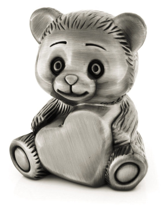 Elegance 80395 Teddy Bear Bank w/ Heart Engraving Area
