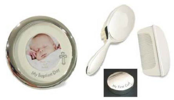 Elegance 80530 Baptism Frame, Brush, Comb and Curl Box Set