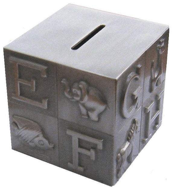 Elegance 80881 ABC Block Bank Pewter