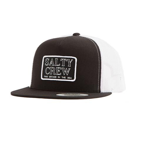 SALTY CREW STACKED TRUCKER HAT BLACK WHITE