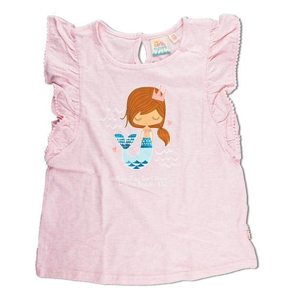 Earth Nymph Girls T-shirt - Folk Mermaid Pink