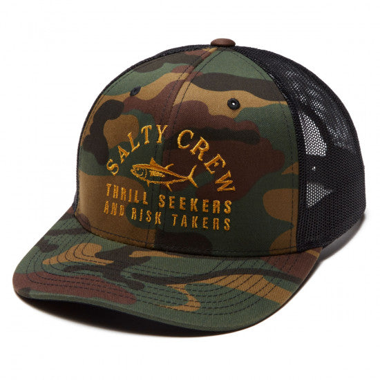 SALTY CREW FISH MARKET RETRO TRUCKER HAT CAMO BLACK