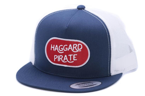 Haggard Pirate - PATCHED TRUCKER HAT - NAVY/WHT