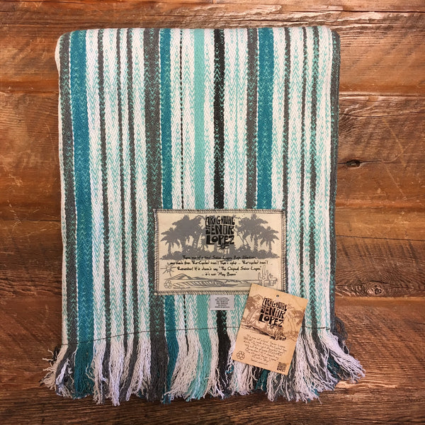 Señor Lopez Beach Blanket- Turquoise, Grey, White Stripe