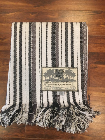 Señor Lopez Beach Blanket- White, Black, Grey Stripes