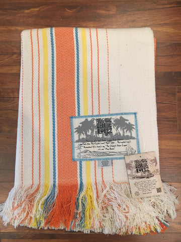 Señor Lopez Beach Blanket- White, Orange, Yellow Stripes
