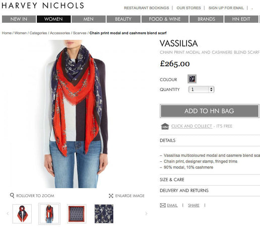 Harvey Nichols scarves by Vassilisa, luxury shawls.