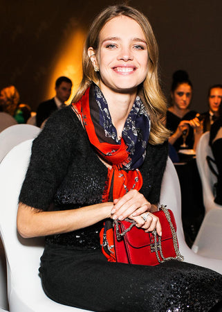 Natalia Vodianova in a beautiful scarf by Vassilisa London
