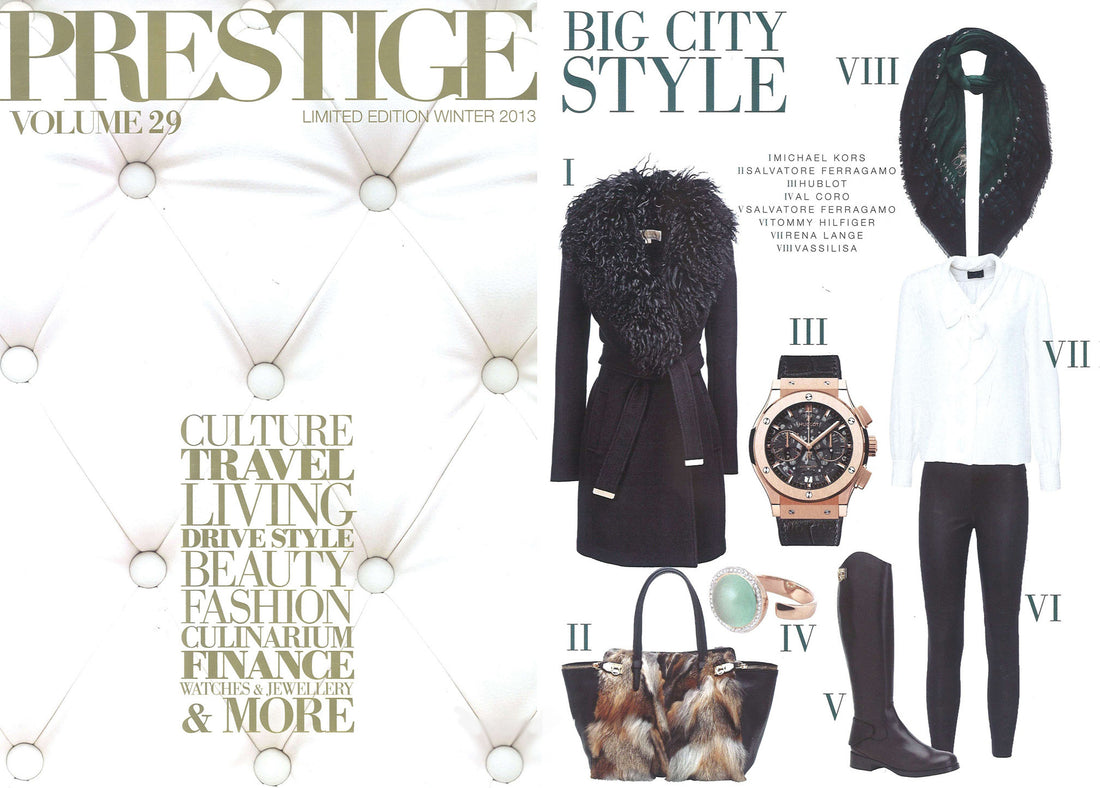 Luxury winter scarves, Vassilisa brand scarf in Prestige Magazine Switzerland