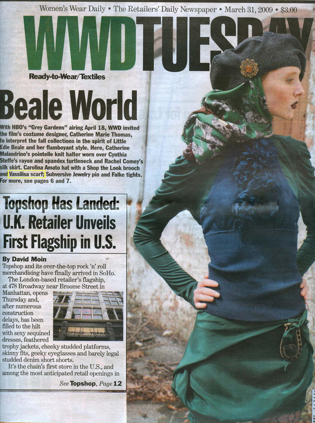 Vassilisa scarf in WWD, designer scarves press USA