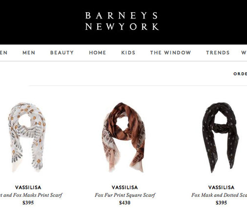 Scarves in Barneys NYC, Vassilisa brand scarves