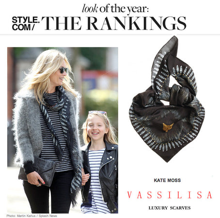 Kate Moss black and tails scarf by Vassilisa London, models favourite scarves, Style.com look of the year rankings