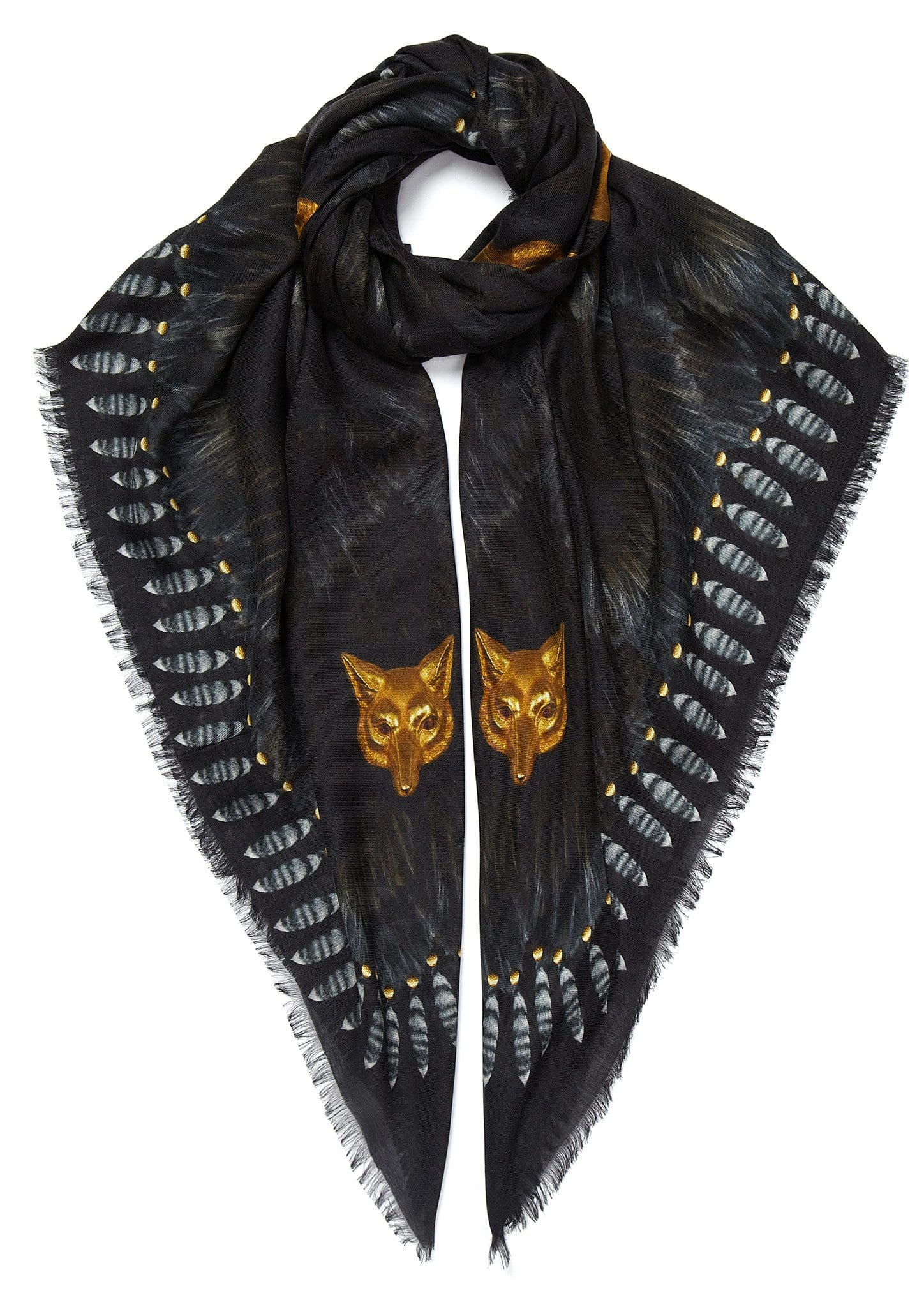 Fur and wolves' masks scarf black - bestseller