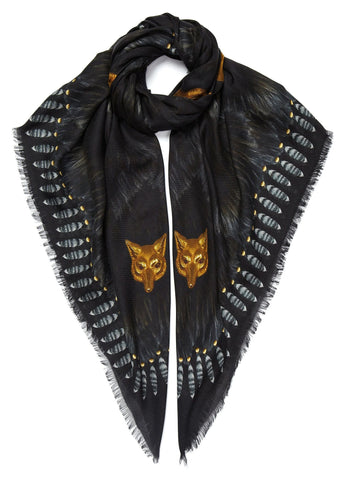 Fur and Wolves' Masks Scarf Black - Bestseller - VASSILISA