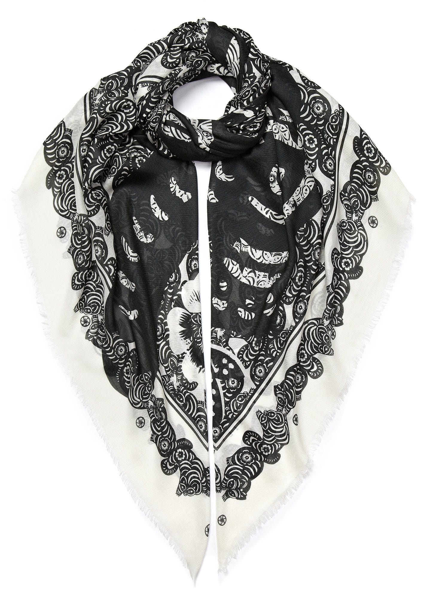 Vassilisa: Cat print scarf black and white | Accessories > Scarves,Accessories -  Hiphunters Shop
