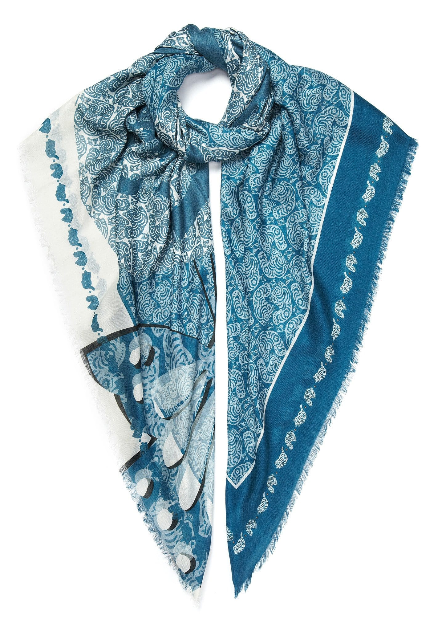 Cat print scarf blue white
