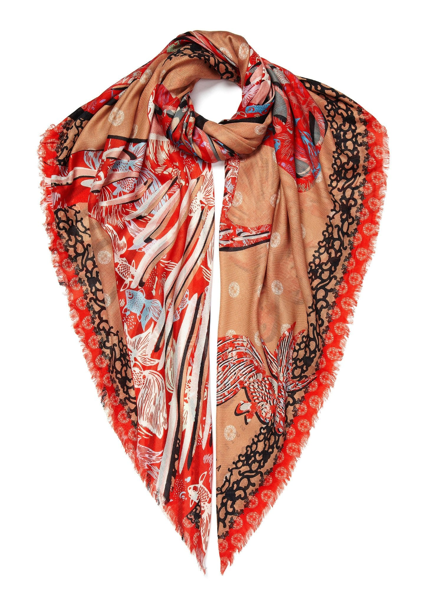 Vassilisa: Lucky fish scarf red | Accessories > Scarves,Accessories -  Hiphunters Shop