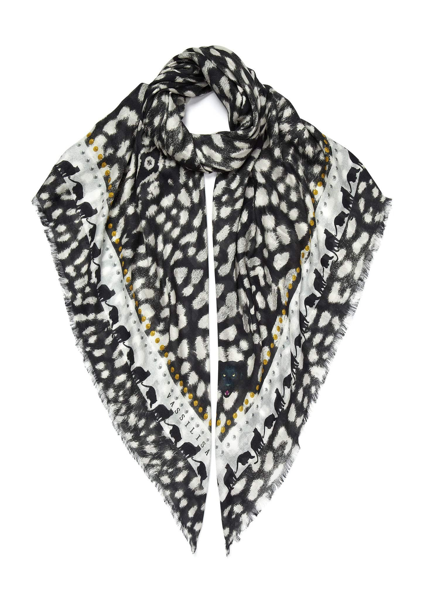 Leopard print scarf black and white