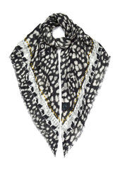 Leopard Print Scarf Black and White - VASSILISA