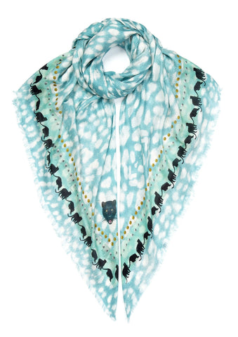 Light blue leopard print designer scarf VASSILISA e-boutique