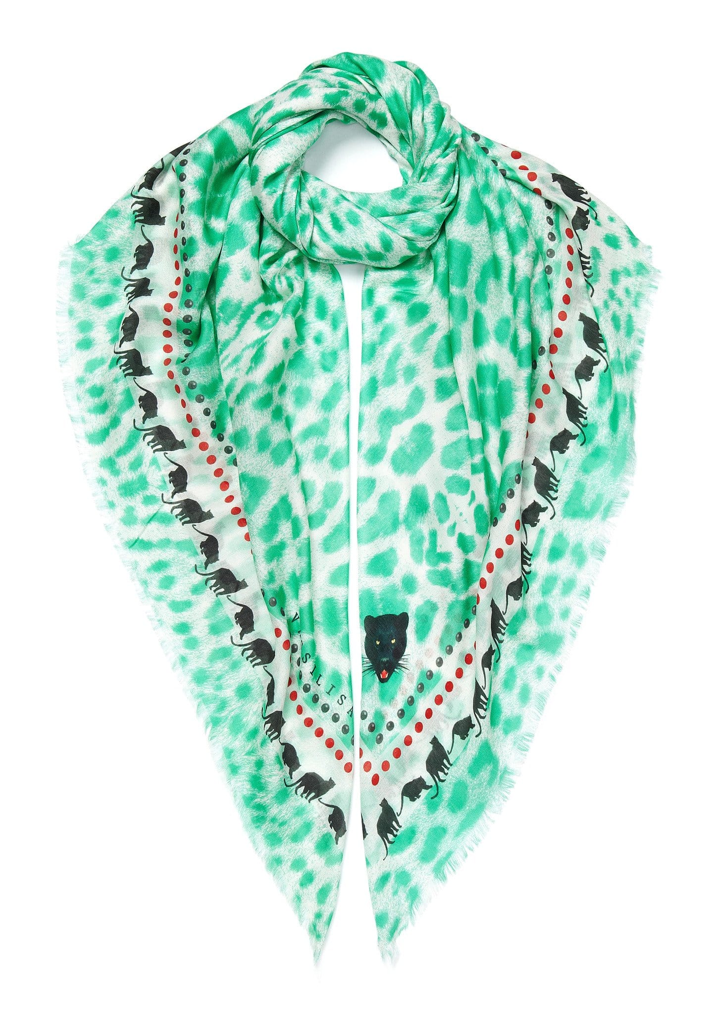 Leopard print scarf turquoise