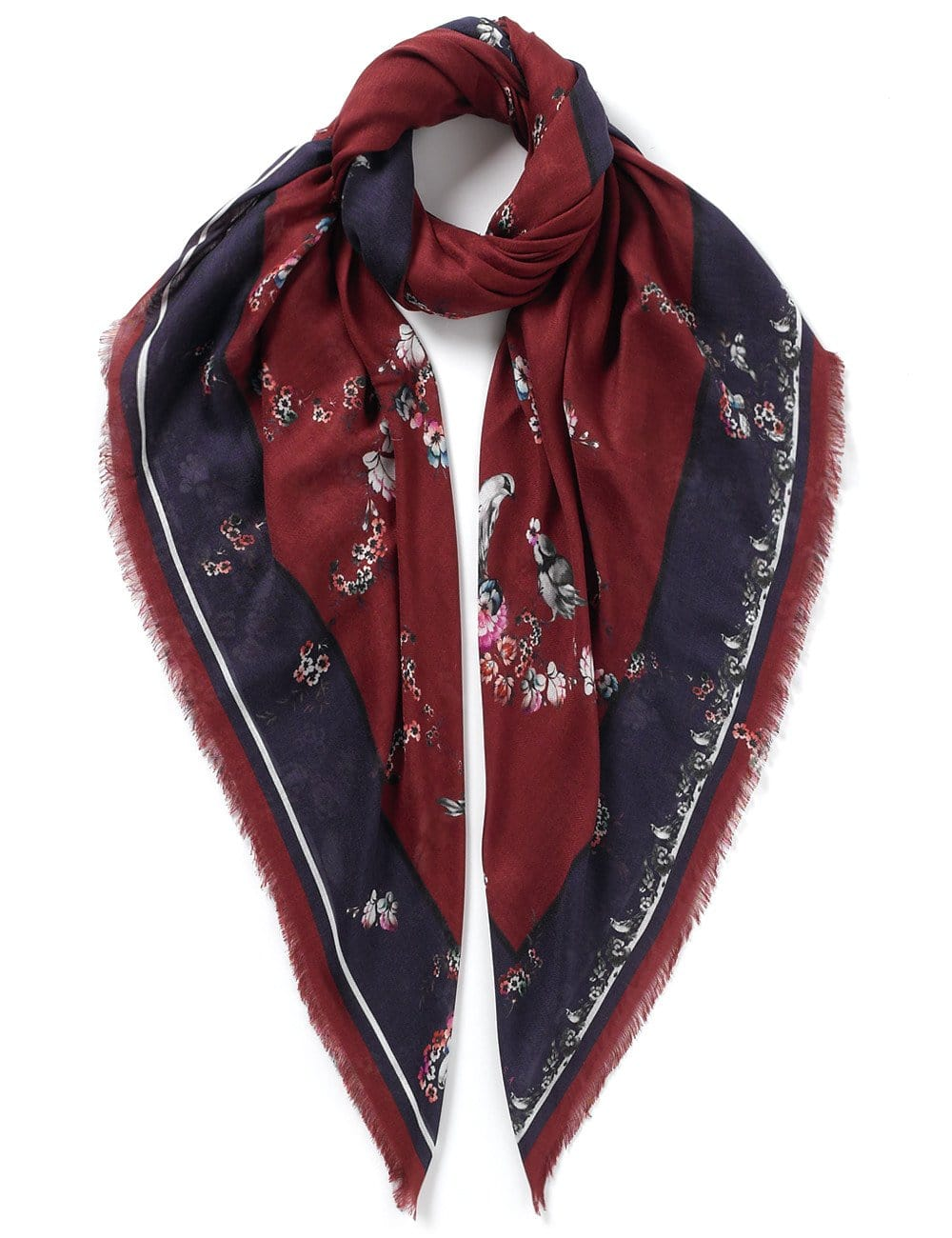 Vassilisa: Floral and birds print scarf burgundy | Accessories > Scarves,Accessories -  Hiphunters Shop