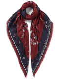 Floral and Birds Print Scarf Burgundy - VASSILISA
