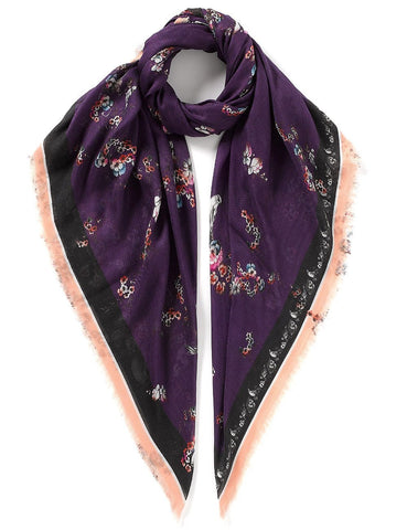 Floral and Birds Print Scarf Purple