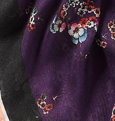 Vassilisa: Floral and birds print scarf purple | Accessories > Scarves,Accessories -  Hiphunters Shop