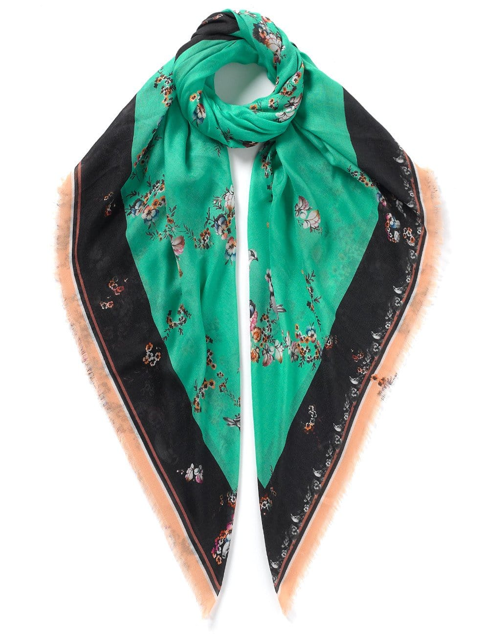 Vassilisa: Floral print scarf turquoise | Accessories > Scarves,Accessories -  Hiphunters Shop