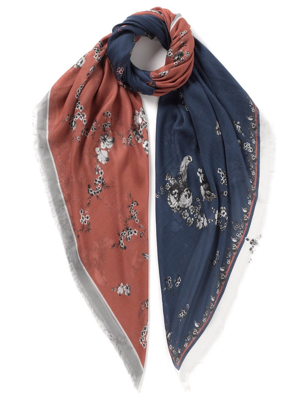 Vassilisa: Floral print duo scarf pink and navy | Accessories > Scarves,Accessories -  Hiphunters Shop