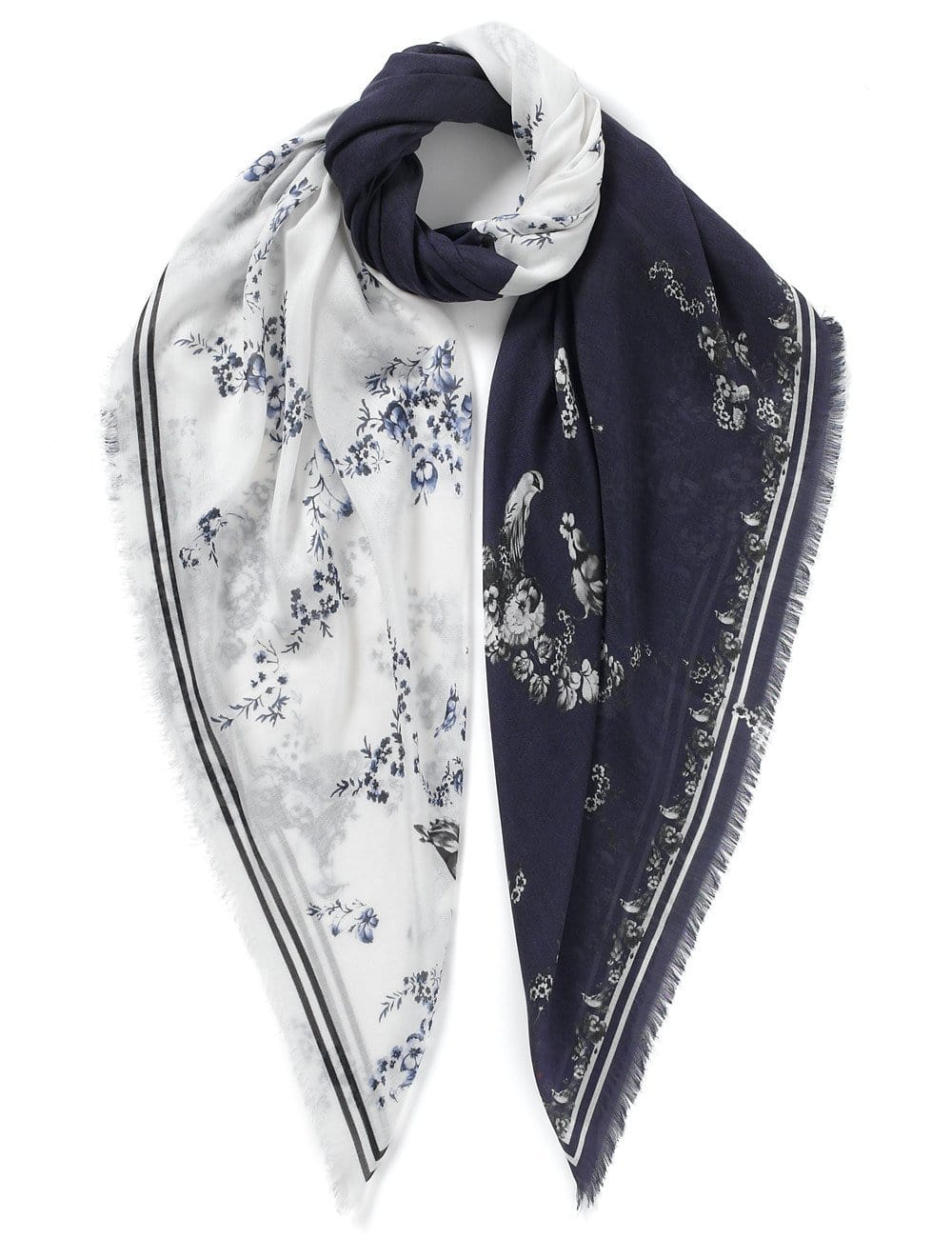Floral print scarf white and navy