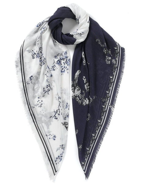 Floral Print Scarf White and Navy - VASSILISA