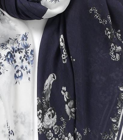 Vassilisa: Floral print scarf white and navy | Accessories > Scarves,Accessories -  Hiphunters Shop