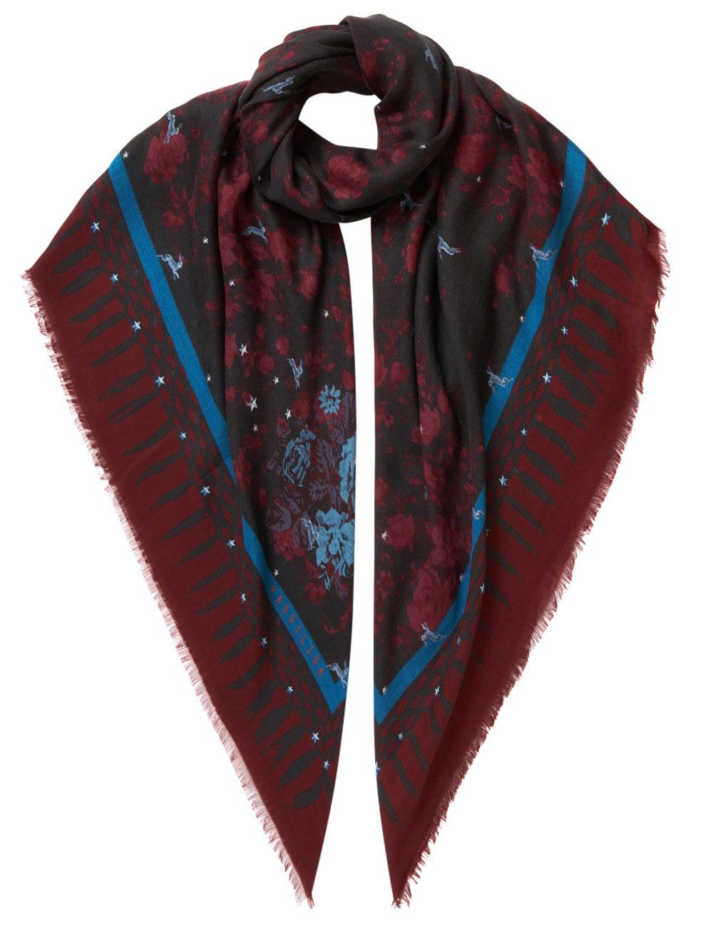 Vassilisa: Floral and rabbit print scarf burgundy | Accessories > Scarves,Accessories -  Hiphunters Shop