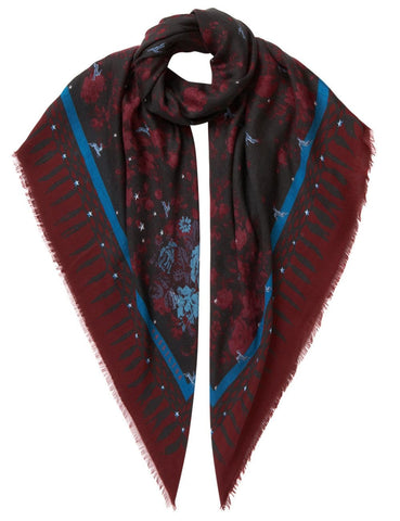 Floral and Rabbit Print Scarf Burgundy - VASSILISA