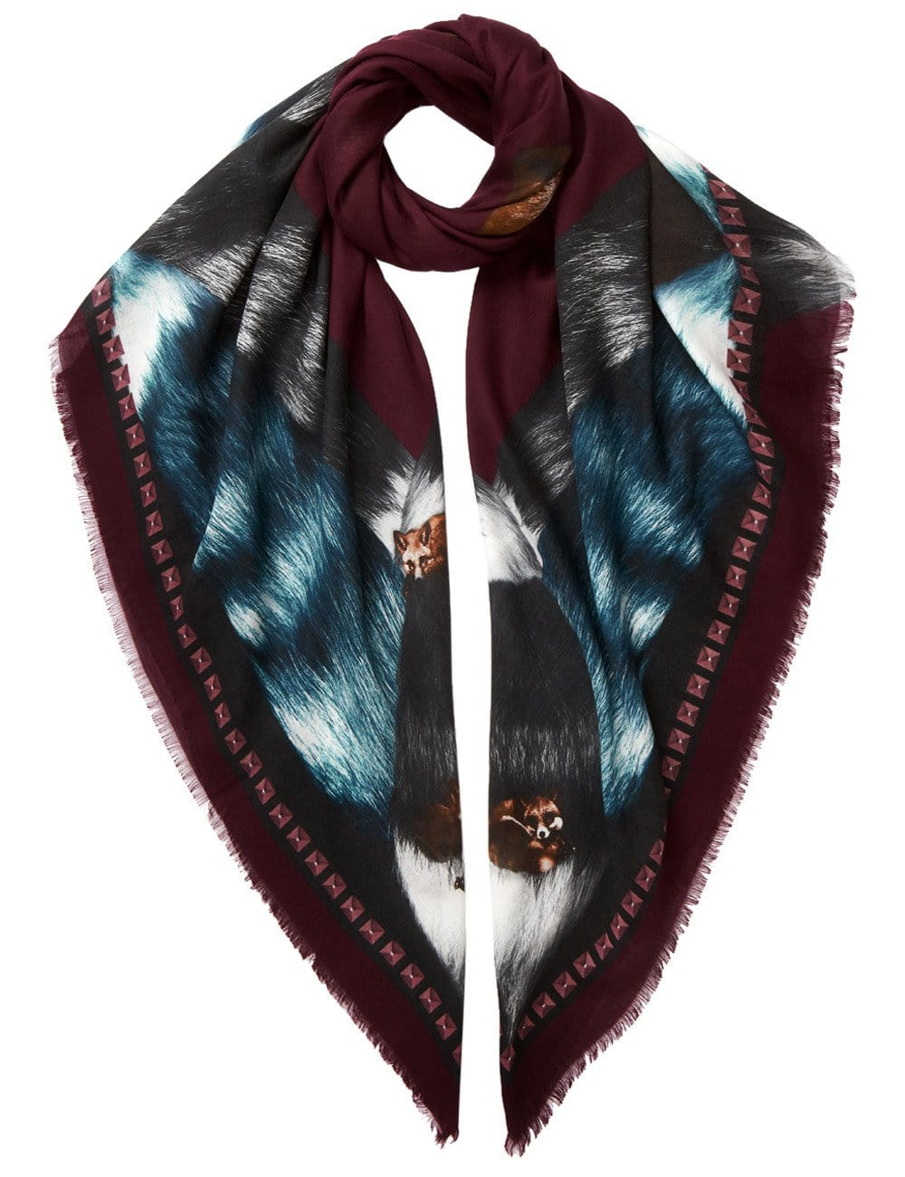Vassilisa: Fox scarf burgundy | Accessories > Scarves,Accessories -  Hiphunters Shop