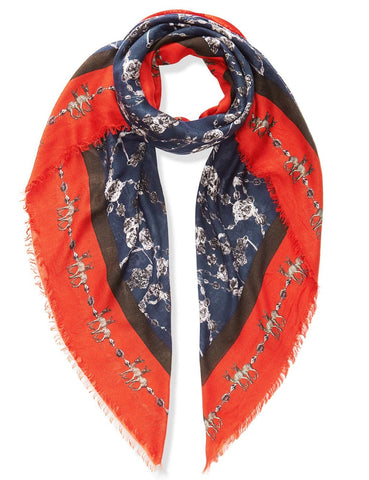 Chain Print Scarf in Prussian Blue and Red