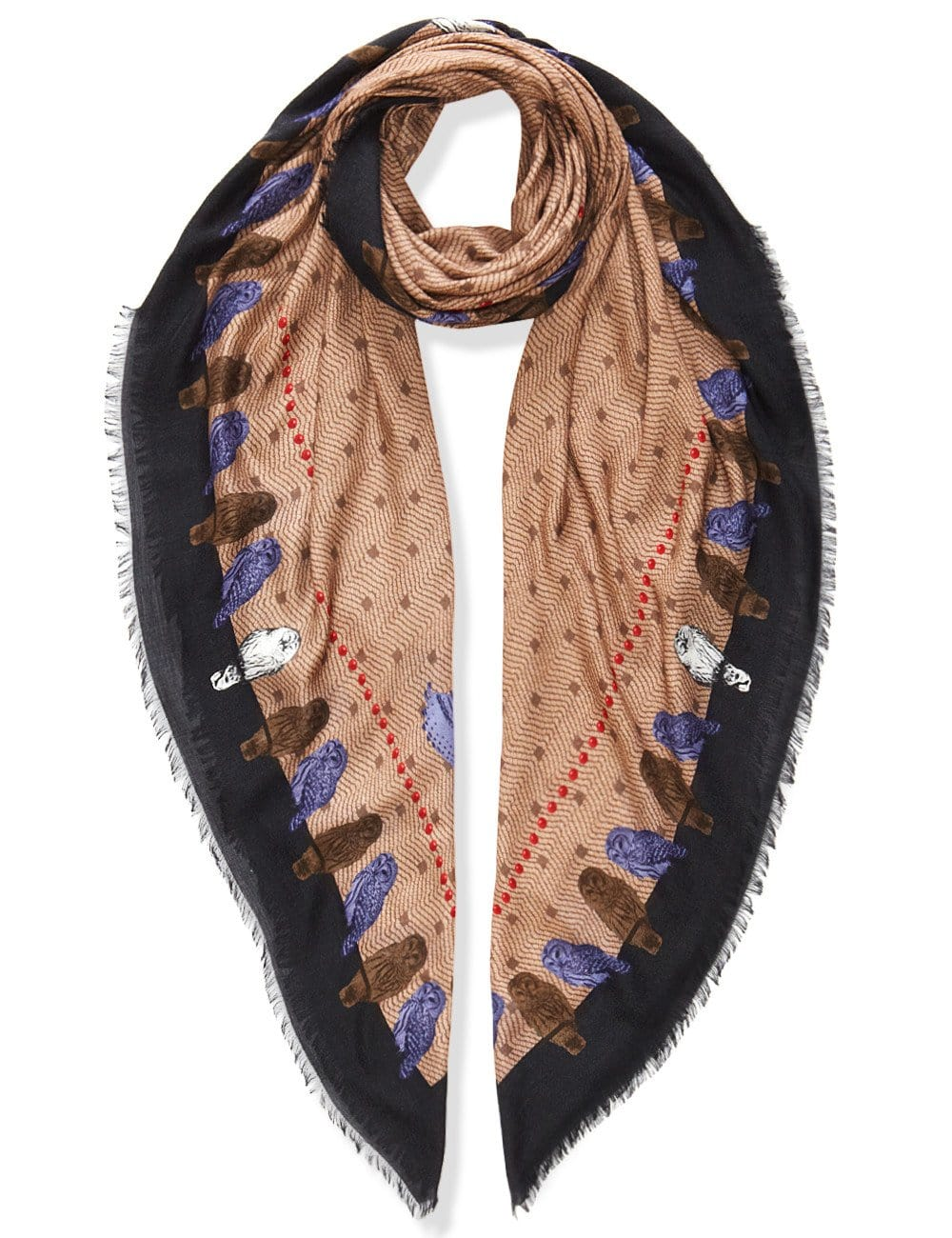 Vassilisa: Owls scarf beige | Accessories > Scarves,Accessories -  Hiphunters Shop